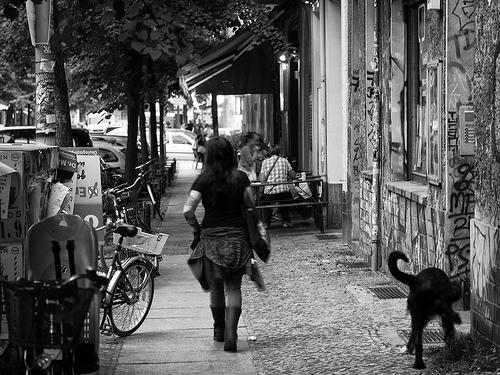 girl walking street