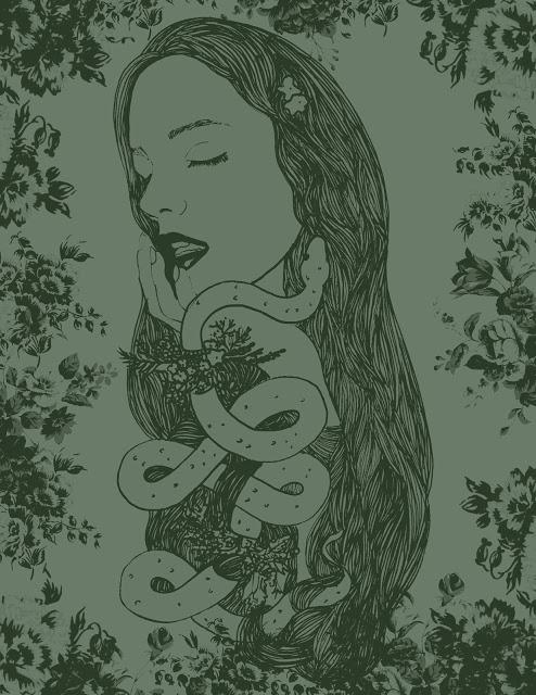 woman serpent illustration girl lady snake drawing