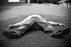 dead body chalk outline resting sleep sidewalk