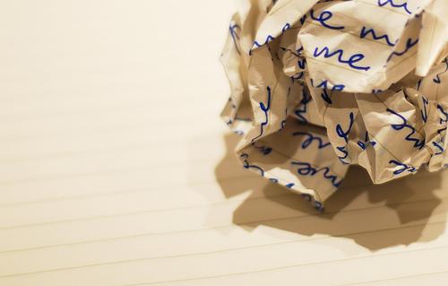 crumpled paper writer's block