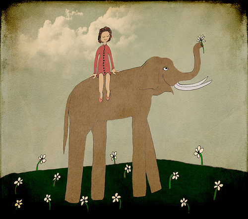 elephant art lady flowers