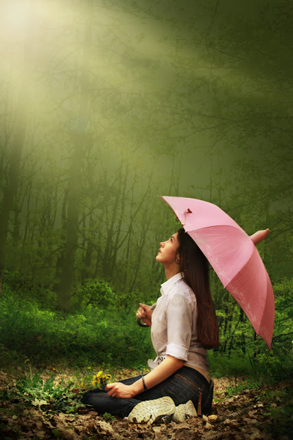 sitting umbrella nature woman lady girl pink outside rain weather