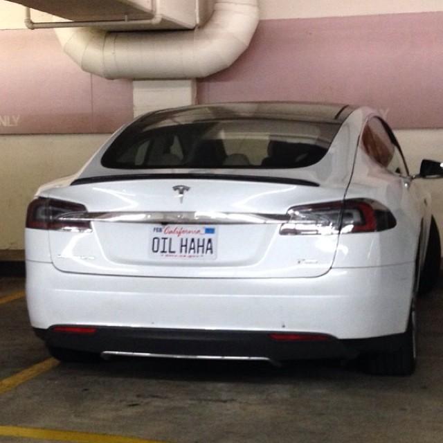 tesla funny oil electric car