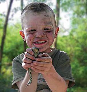frog toad boy grin child woods