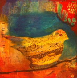 Painting titled Chirping Sparrow by Taly Shemy