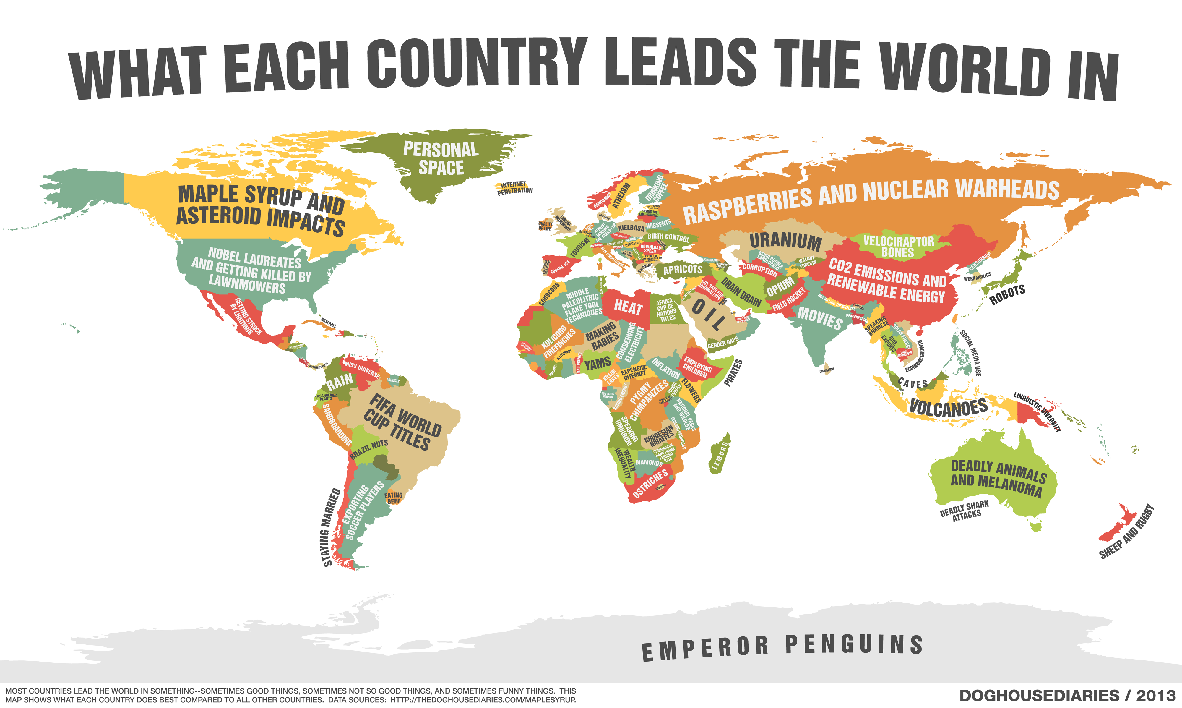 A Map Of What Every Single Country Leads The World In Elephant