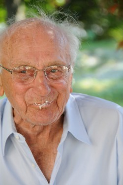 My Gramps eating cake on his 100th birthday.