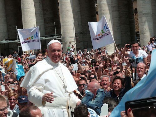Wikimedia Commons: http://commons.wikimedia.org/wiki/File:Pope_Francis_among_the_people_at_St._Peter%27s_Square_-_12_May_2013.jpg