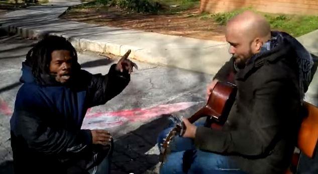 music homeless man musician