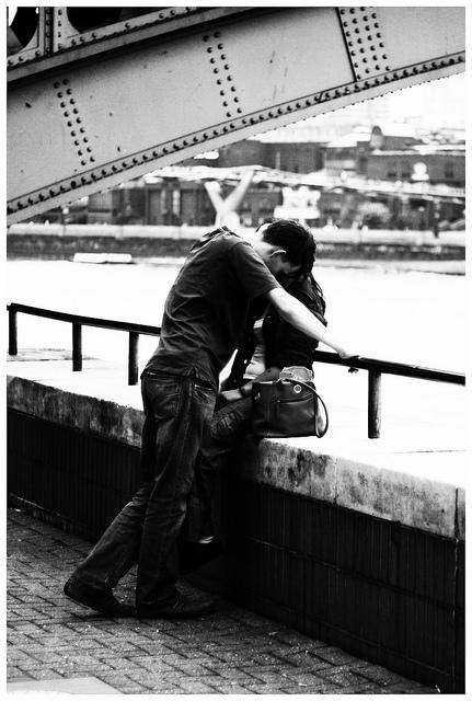 couple hug love bridge lovers