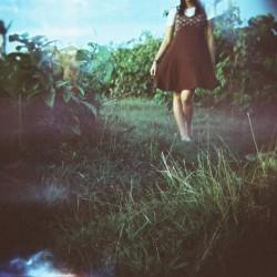 girl green garden walking summer