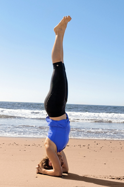 headstand sirsasana beach yoga
