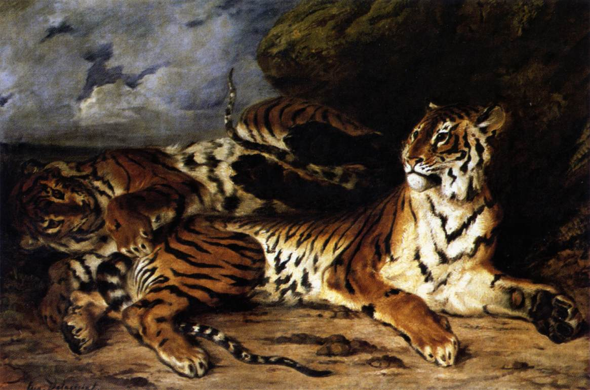 A_Young_Tiger_Playing_with_its_Mother