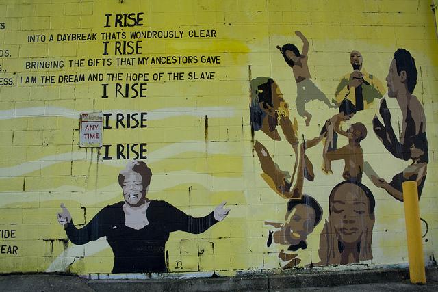 I rise Maya Angelou graffiti mural