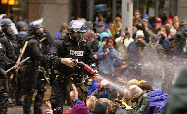 WTO protests gas riot police
