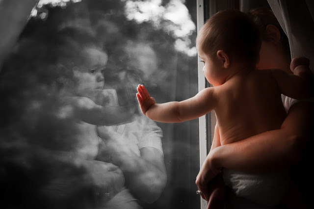 baby at window wonder curious