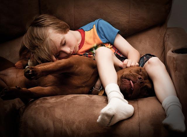 boy cuddles dog
