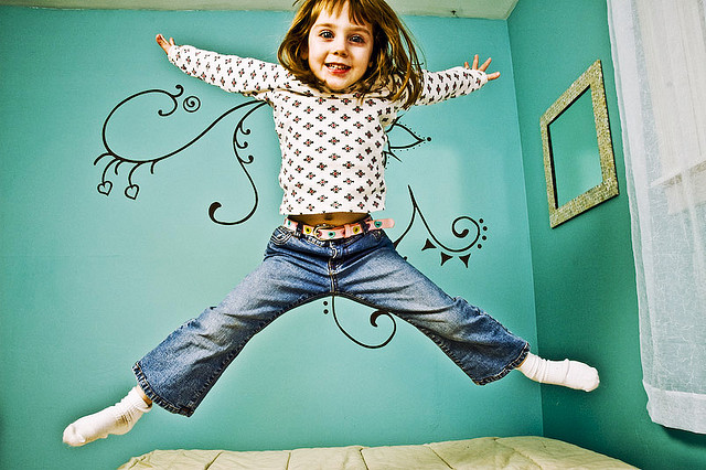 little girl child jumping play action movement exercise health play focus