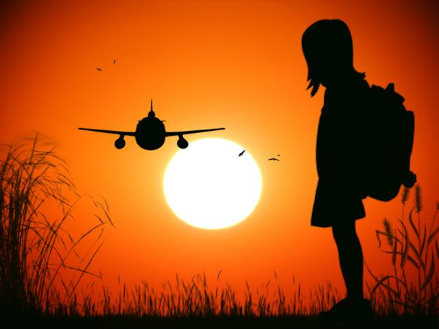 little girl sun airplane