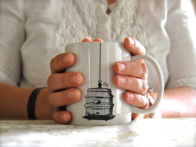 mug coffee drink fly mother hands holding warm person