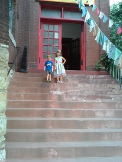 my kids at the Buddhist temple.