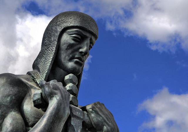 warrior stone statue