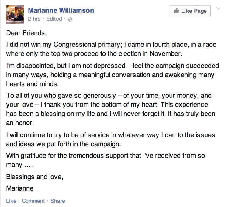 Marianne Williamson congress primary  loss
