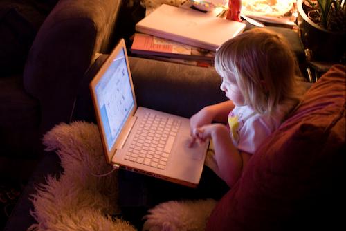 facebook, computer, girl