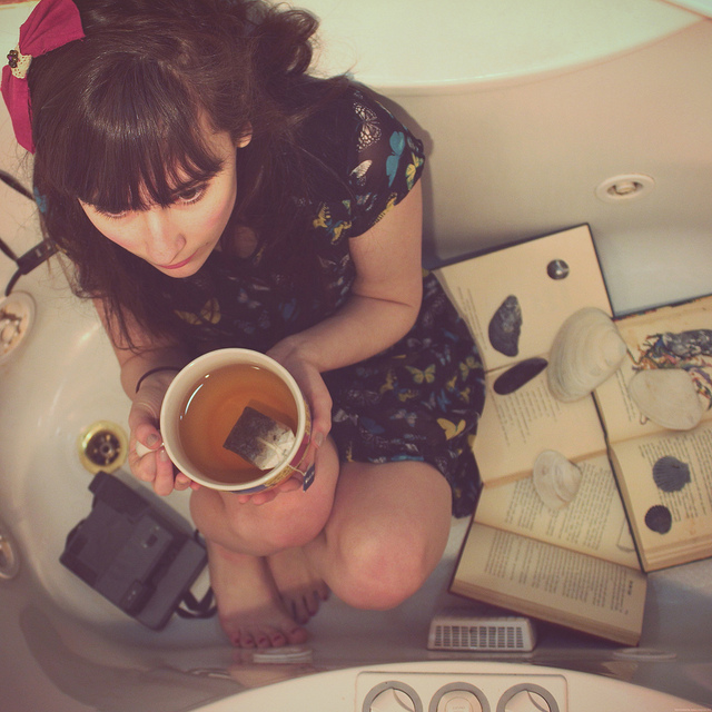 girl dreamer tub thinking writer tea space home