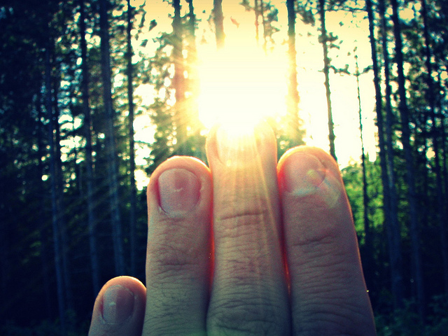 sun fingers hand touch