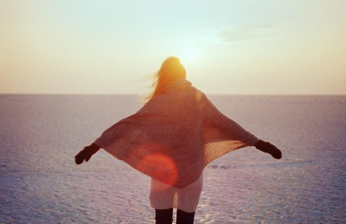 woman sun ocean