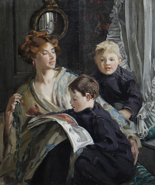 Hilda_Fearon_A_portrait_of_a_mother_and_her_two_sons_1911