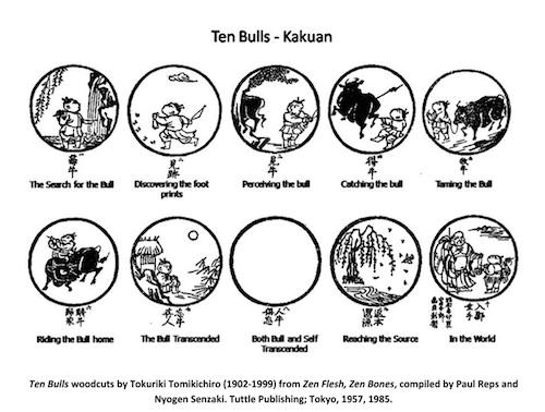 Ten Bulls Woodcut