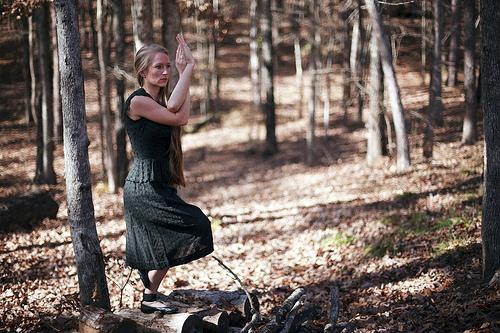 yoga pose outside