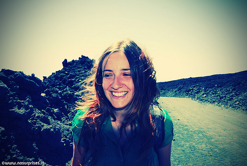 woman smile outdoors simple