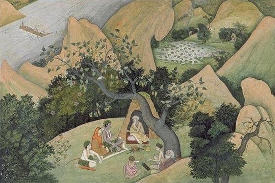 Rama,_Sita,_and_Lakshman_at_the_Rishi_Bharadwaj_ashram,_dispersed_Ramayana_manuscript,_ca._1780-1