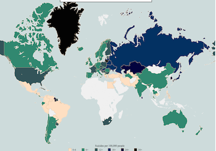 suicide depression map world