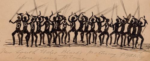 Tommy_McRAE_-_Kwatkwat_people_-_New_South_Wales_Blacks_practising_fighting_before_going_to_war-Sketchbook_of_Aboriginal_activities_-_Google_Art_Project