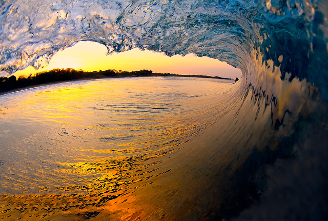 wave sunset tube surfing
