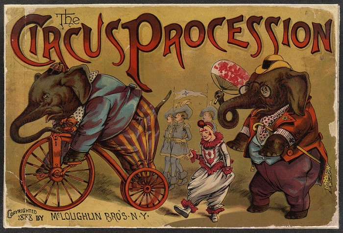 http://commons.wikimedia.org/wiki/File:CircusProcessionElephants1888.jpg