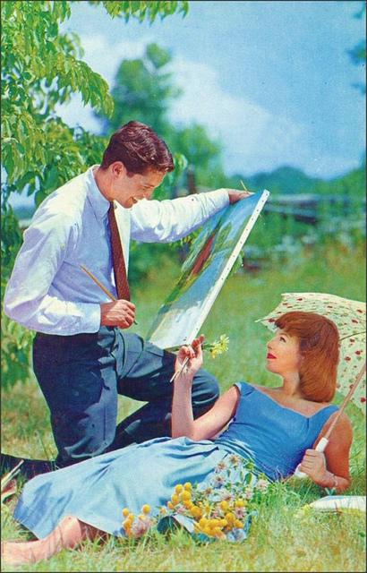 couple love picturesque retro