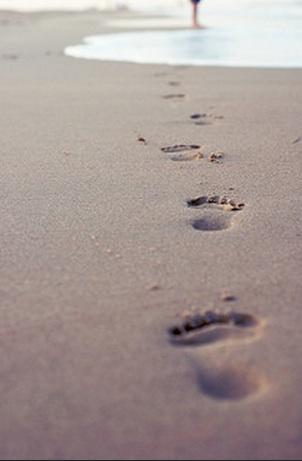 footsteps, footprints