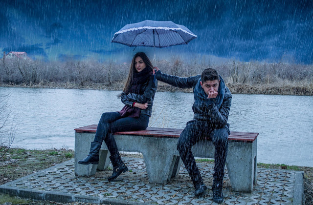 couple rain love grumpy