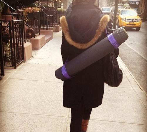 walking to yoga