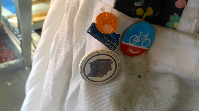 Theresa Haberkorn show's her bike love with a People for Bikes pin on her smock