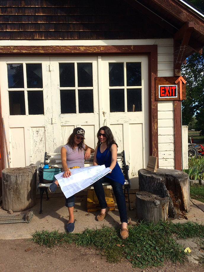 Carmel Wroth and I plan out our next stop on the Open Studios Tour
