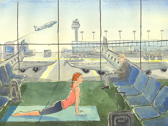 Yoga in the Airport, illustration by Jon Lander