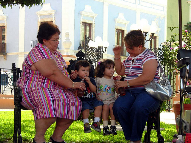 overweight woman with kids