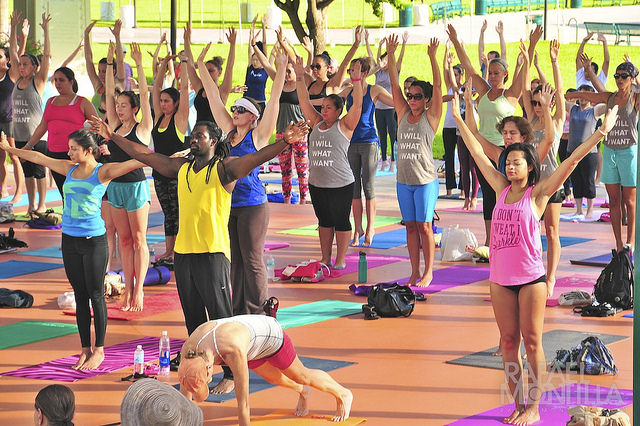 packed yoga class