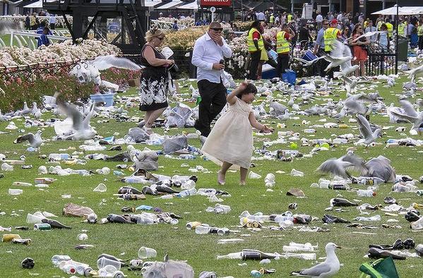 Melbourne Cup 2014 rubbish garbage trash 2